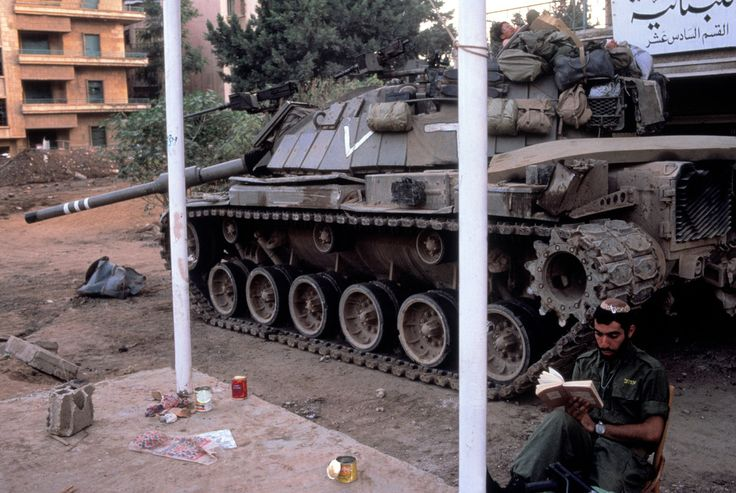Magnum Photos Gilles Peress August 1982. It is time for prayer and meditation for an Israeli army position during the ceasefire in West Beirut. During the Lebanon War of 1982, Yasser Arafat and PLO forces were