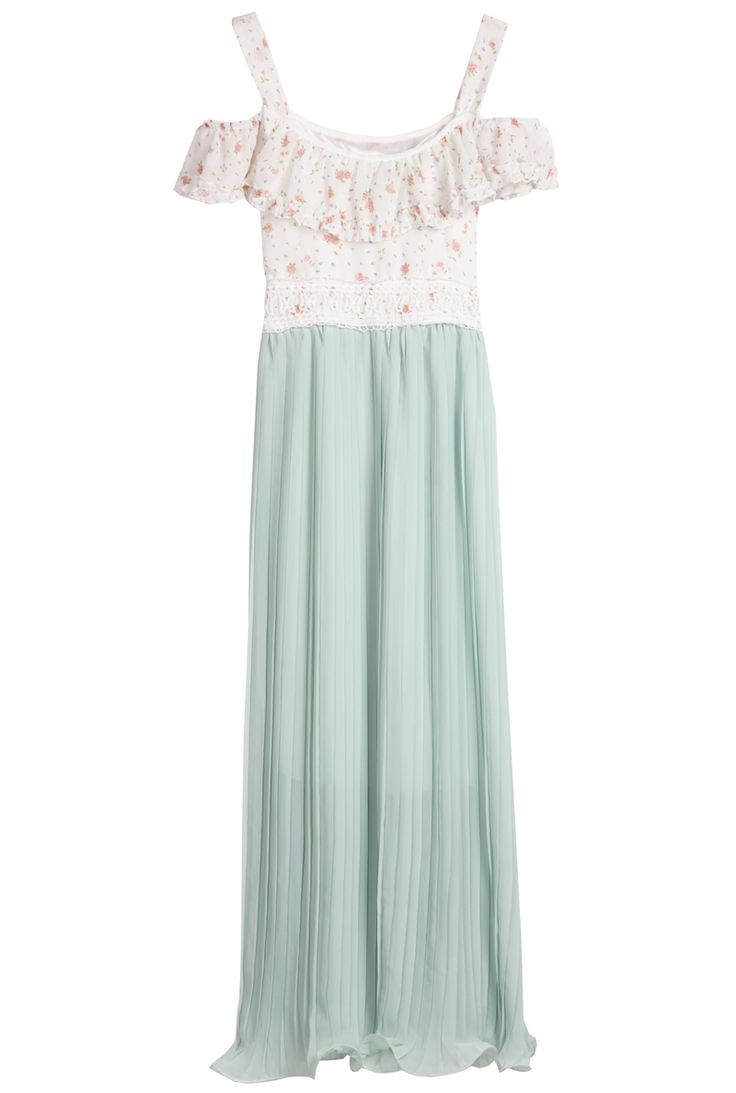 Green Spaghetti Strap Floral Pleated Chiffon Dress - Sheinside.com: Cat