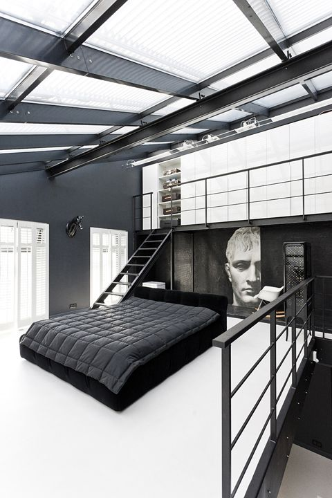 Black & white contemporary bedroom design