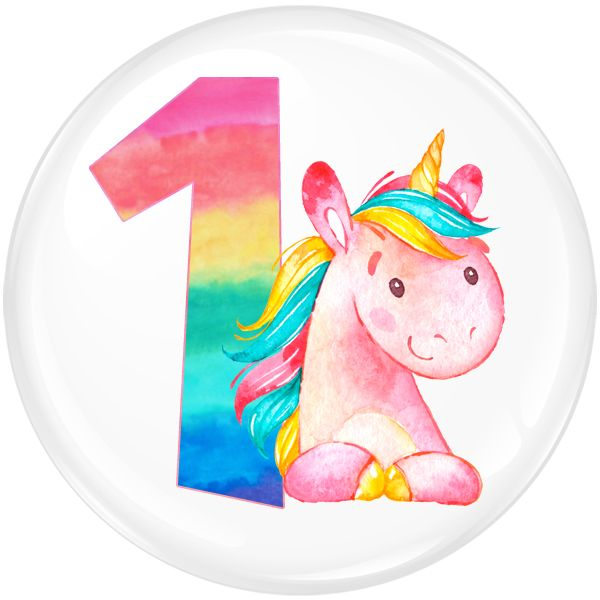 Unicorn 1 Age Birthday Badge for Kids #316