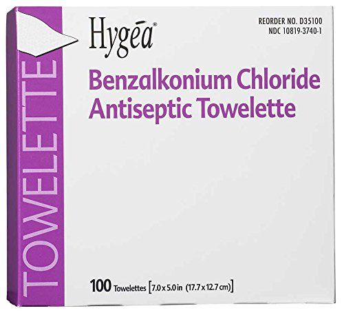 """PDI Healthcare D35185 Hygea Benzalkonium Chloride Antiseptic Towelettes, Alcohol Free, 7"""" x 5-1/2"""" Size (Case of 2000). Contains 0.13 percent benzalkonium Chloride. Use wherever antiseptic cleansing/refreshing is needed. Case of 2000."""