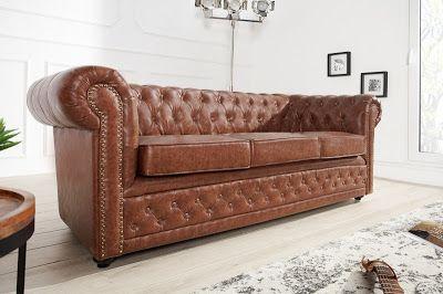 Luxusný nábytok REACTION: Luxusná troj-sedačka antická hnedá CHESTERFIELD.