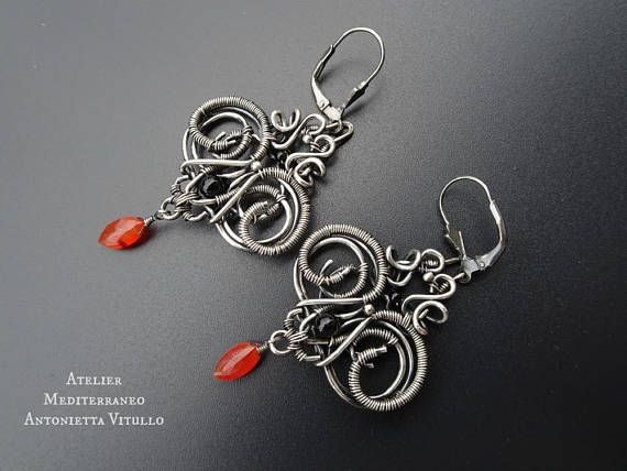 Wire Wrapped Sterling Silver Drop Earrings With Black Onyx And