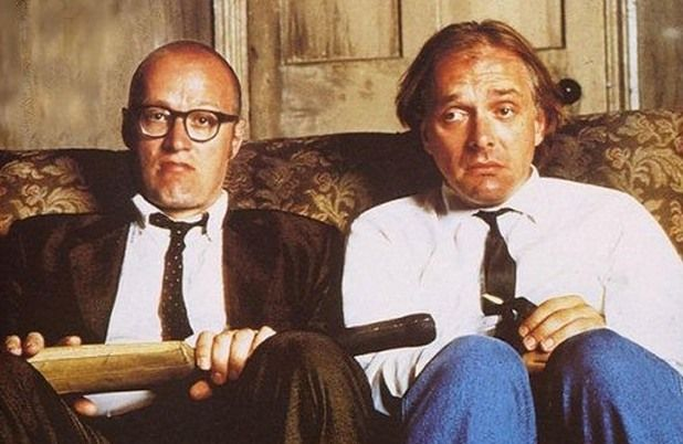 Bottom. Adrian Edmondson and Rik Mayall are as funny as it gets, although I liked Young Ones better. But this show was still pretty funny. Ran from 1991-95 and is still being dubbed into other languages today. The episode with the pheromones was hysterical. LOL