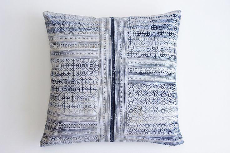 Boho Bohemian Rare Vintage HMONG Textile Batik Hand dyed Embroidered Ethnic Textile Blue Navy Nautical Pillow Case wt16 by Tshaj on Etsy https://www.etsy.com/listing/498407568/boho-bohemian-rare-vintage-hmong-textile