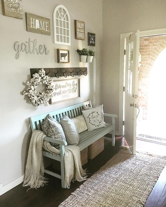 modern country decor, modern farmhouse decor, fall decor, entry way, rustic, signs, farmhouse, front door, rugs, bench, pillows, blankets, gather, coat rack, home sign. home sign with state, cozy, kitchen, living room. dining room. hallway #afflink by Makia55