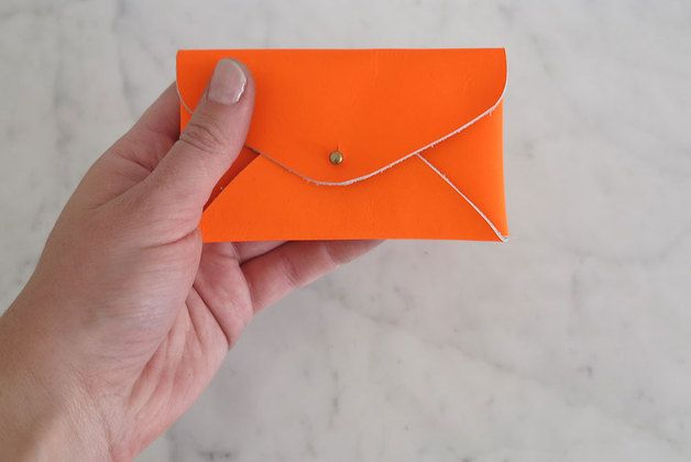 Business Card Holder made from leather, neon orange* Part of the Heydays collection on Dawanda