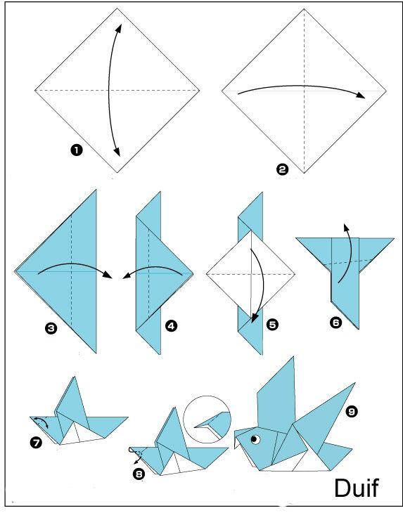 origami-duif vouwen