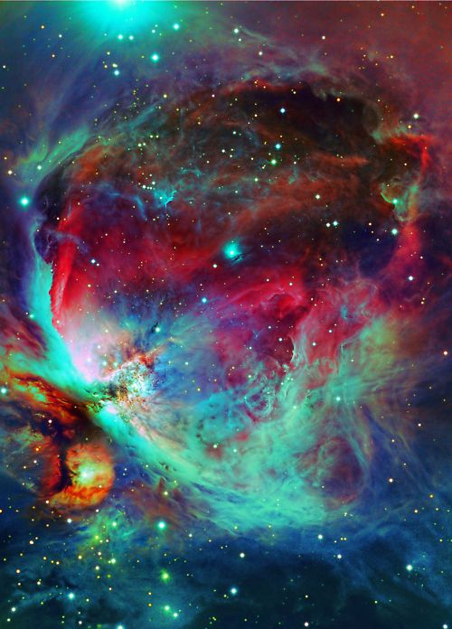 One of the clearest shots of the Orion nebula, pulsing with color.