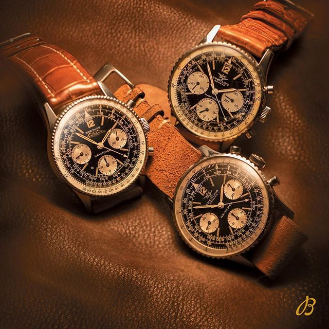 A stunning trio of vintage Navitimer from the 1960s. The subtle differences between the historical logos and the contrasting sub-registers make each of these Navitimer so singularly beautiful. #legendaryfuture #breitling #navitimer  #heritage #history #watches #vintagechronograph #saturday Thanks @watchfred