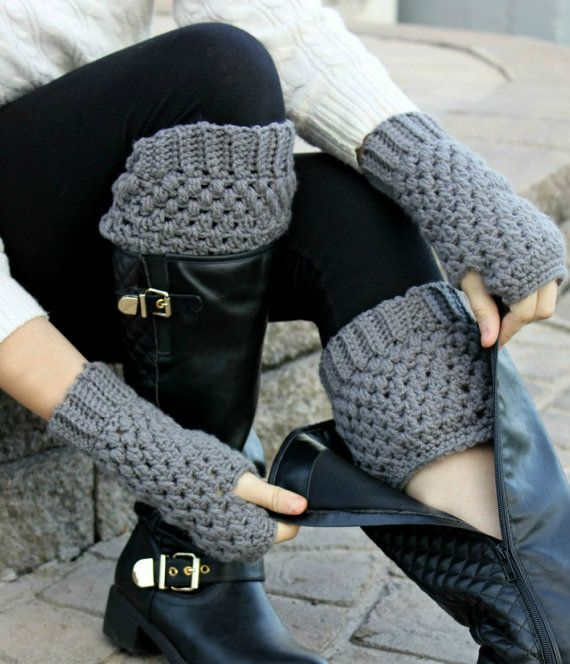 With boot cuffs, you can get the look of boot socks without the added bulk! Ive hand crocheted these boot toppers in a dark grey, which is a great