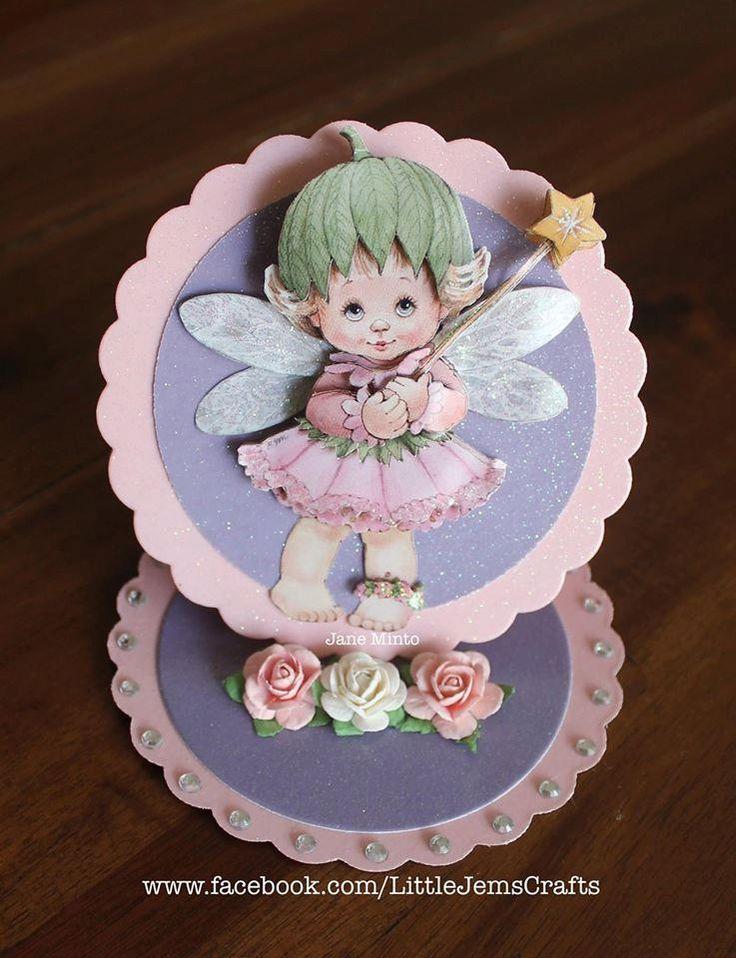 Cute fairy birthday card - circle easel style - handmade card by MintsDesigns on…