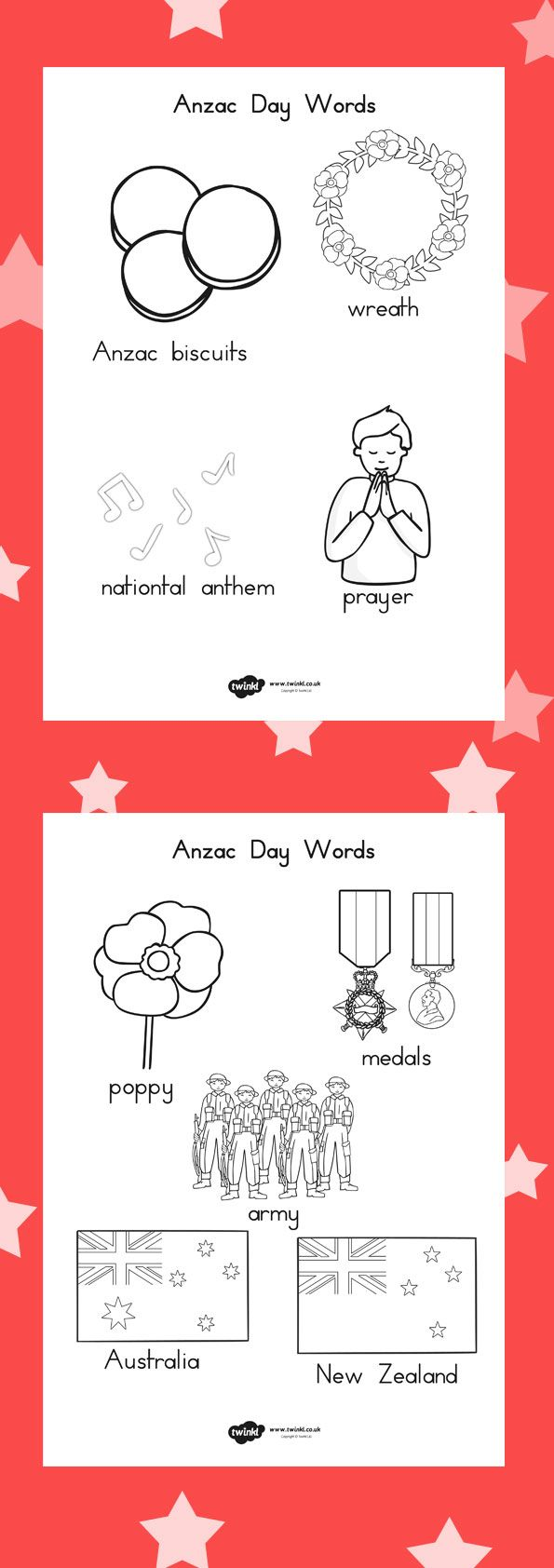 Anzac day colouring words sheets
