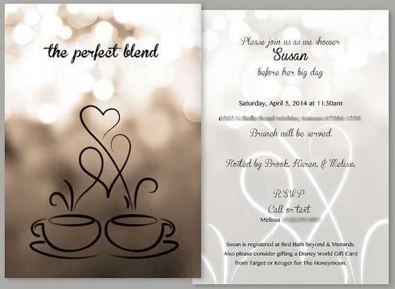 Coffee Themed Bridal Shower Invitation and Matching Thank You Card on Etsy, $17.00