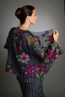 Pretty hunk felt chiffon summer floral bolero or shawl inspiration to make for summer evenings or weddings. 2015年01月18日 - llf1965 - llf1965 的博客
