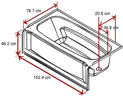 1000 ideas about bathtub dimensions on pinterest for Typical bathtub size