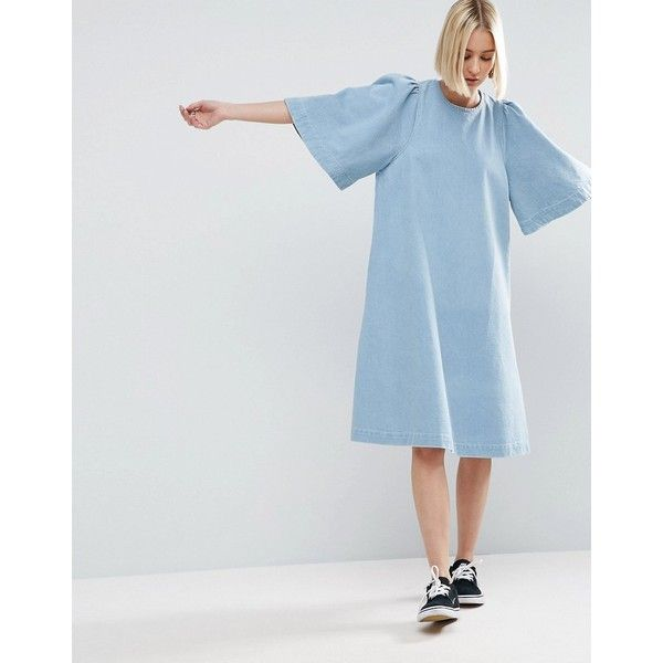 ASOS WHITE Denim Wide Sleeve Dress In Lightblue Wash ($61) ❤ liked on Polyvore featuring dresses, blue, colorblock dresses, t shirt dress, tall dresses, light blue denim dress and loose t shirt dress