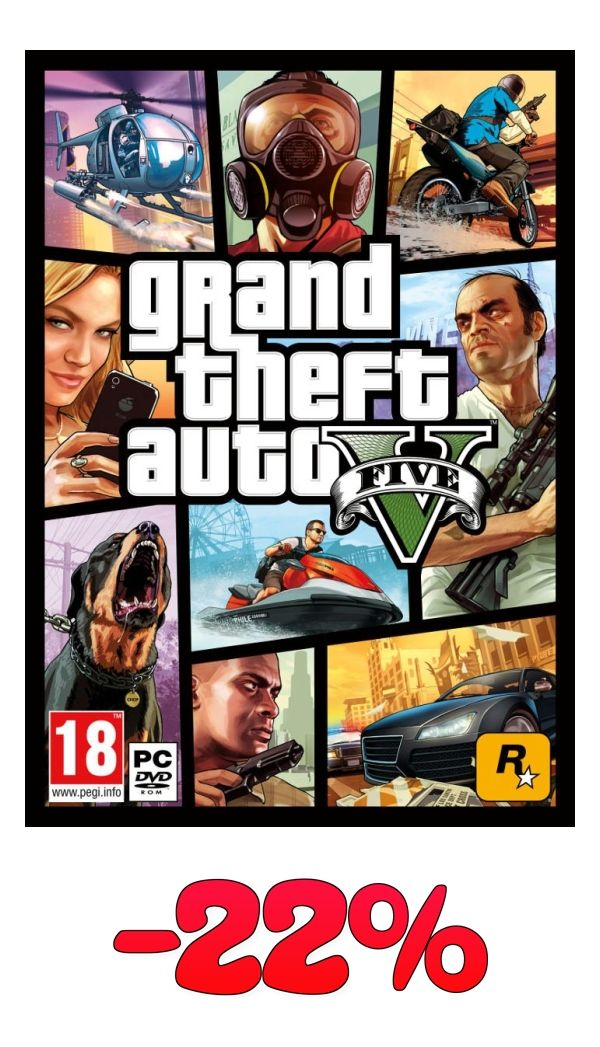 Grand Theft Auto V - GTA V para PC Ahora al 22% de descuento   http://www.amazon.es/Take-Two-Interactive-Spain-GTAVPC/dp/B00L0WZN8G?psc=1&SubscriptionId=AKIAIG4PD76CM6GKSNLQ&tag=ofertaland-21&linkCode=xm2&camp=2025&creative=165953&creativeASIN=B00L0WZN8G