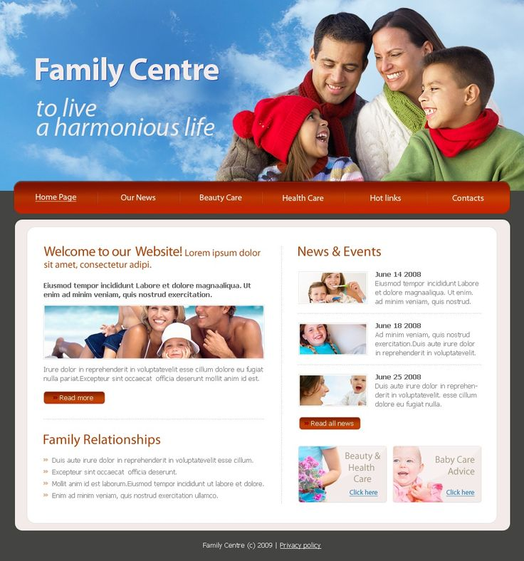 Family Center Website Templates by Mira