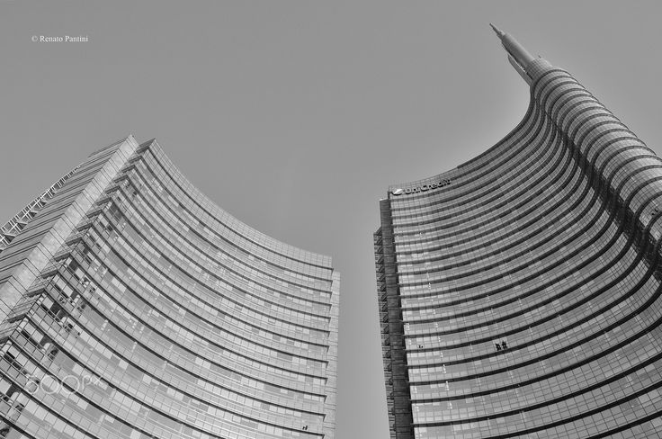 Towers in Milan. - Torre Unicredit, right, and Torre B, left. (Taken in Milan, Italy). (December 2016)