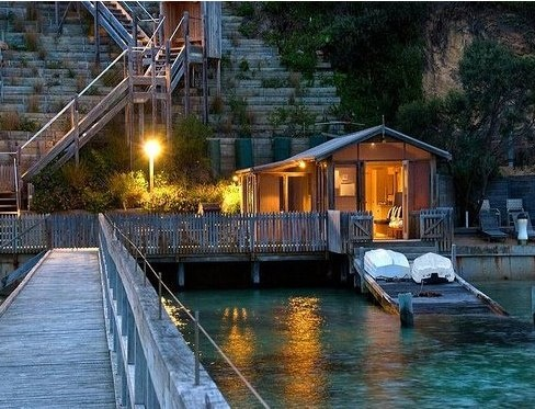 Boat house, stairs, dock.