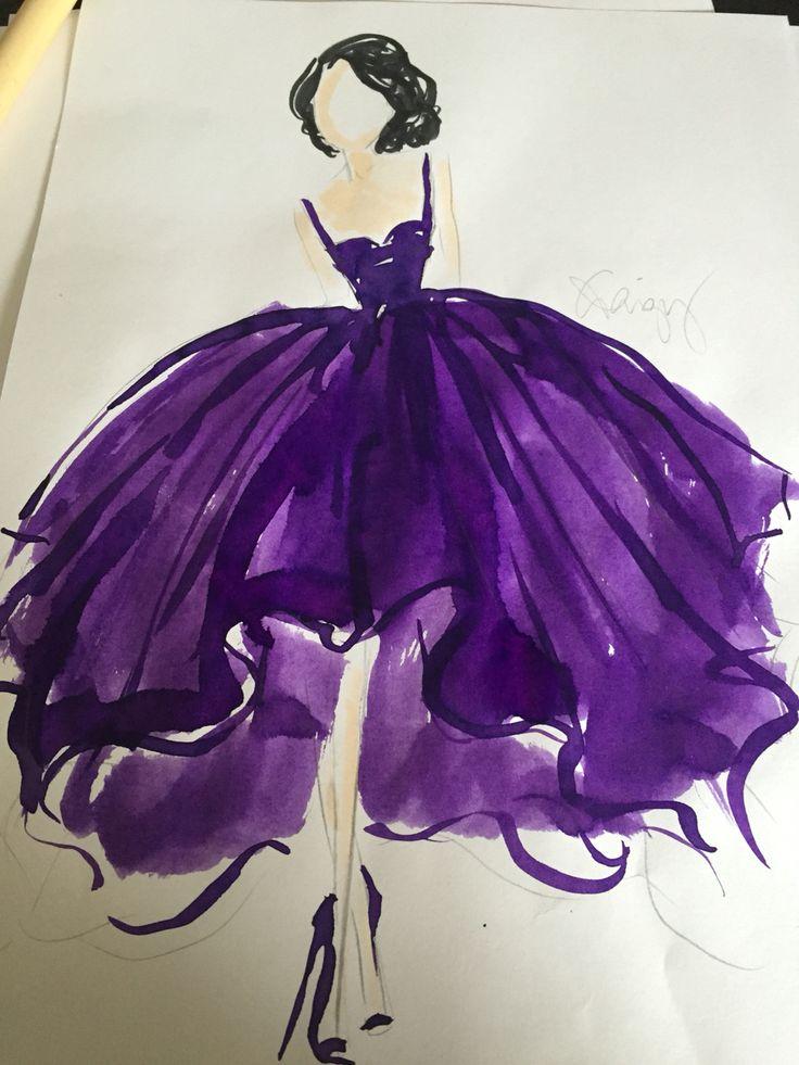 Purple ink gown sketch