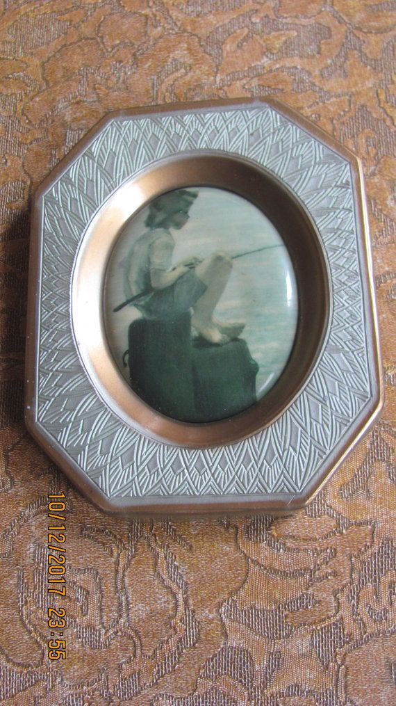 REDUCED Vtg Small Size Diamond Designs Silver Gold Tone Framed Young Boy Fishing Convex Style Print Plastic Picture Frame