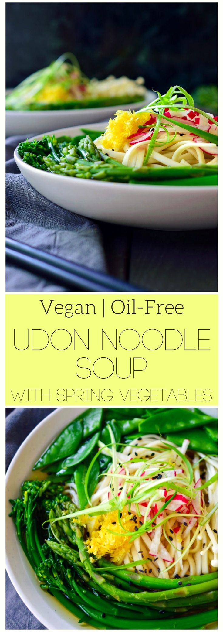 This vegan udon noodle soup is light and delicious with a simple Japanese-style broth and crisp spring vegetables. The broth is the perfect balance of sweet and savoury with a hint of lemon to compliment the freshness of the broccolini, asparagus and snow peas. The flat udon noodles are deliciously chewy and perfect for slurping up all that delicious broth!