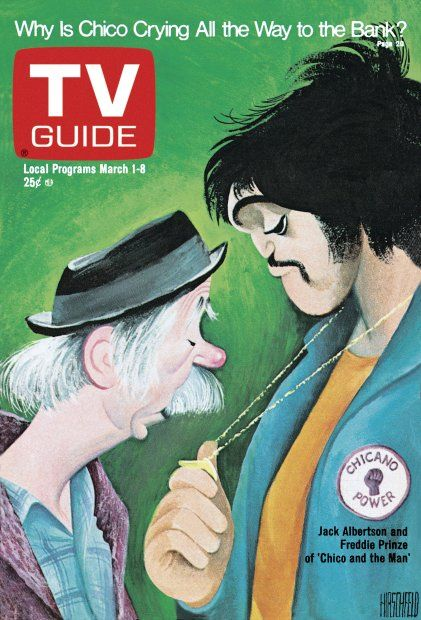TV Guide March 1, 1975 -  Jack Albertson and Freddie Prinze of Chico And The Man. Illustration by Al Hirschfeld