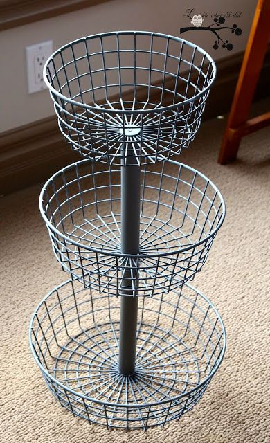 DIY tiered wire baskets - I need one of these in every room.  Add little drawer knobs for feet.