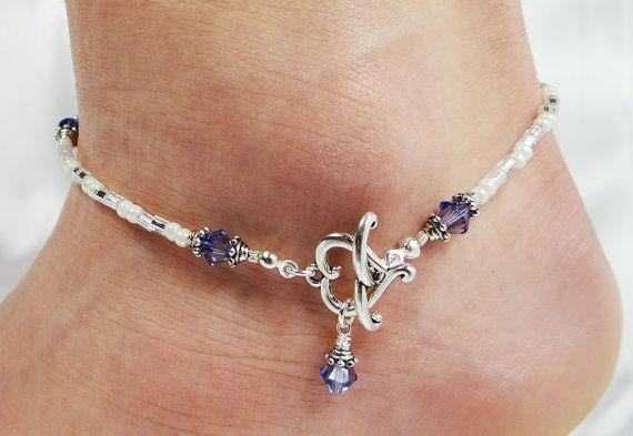 Anklet, Ankle Bracelet, Heart Front Closure Pendant, Tanzanite Purple Customizable Swarovski Crystal Beaded Beach Vacation Wedding Valentine