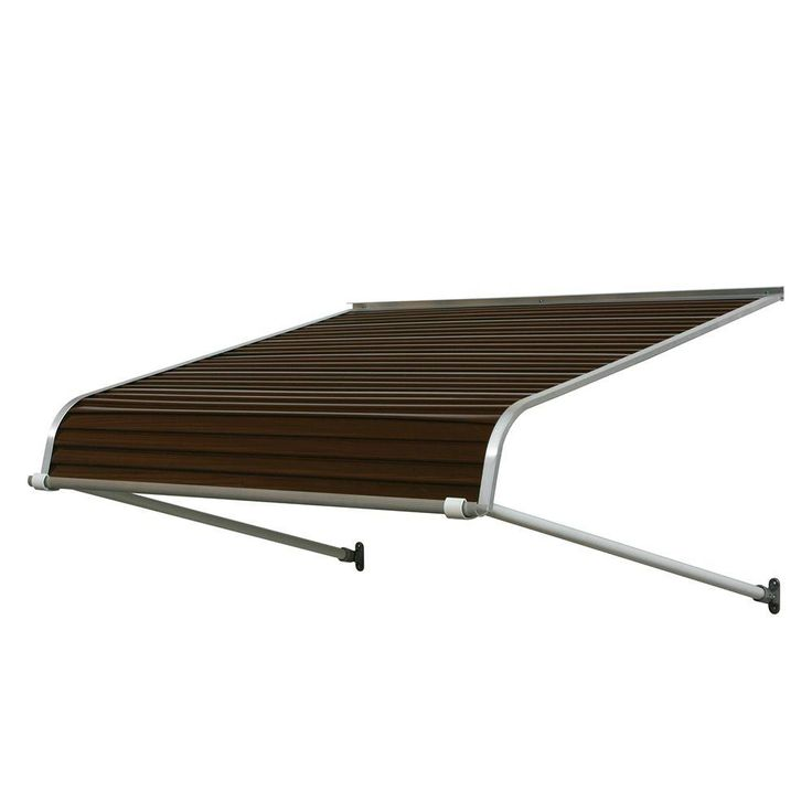 NuImage Awnings 3 ft. 1100 Series Door Canopy Aluminum Awning (21 in. H x 60 in. D) in Brown, Brown/Tan