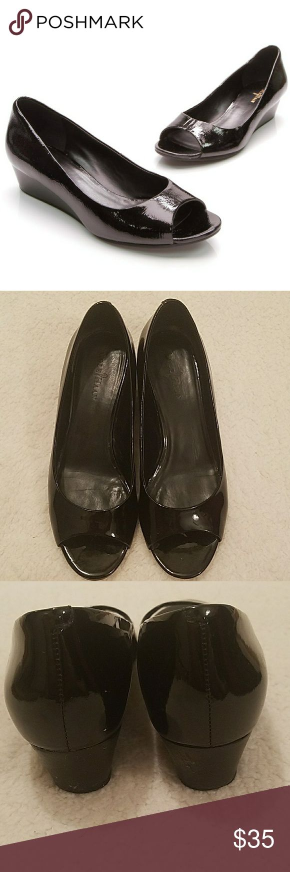 Cole Haan Elsie Black Peep Toe Wedge Heels Shoes are in excellent condition! Super comfortable and classy! Only flaw are the wedges show a little bit of wear. Cole Haan Shoes Wedges