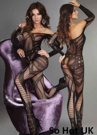 Black Open Crotch Fishnet Design Bodystocking/Nightwear one size 8-12