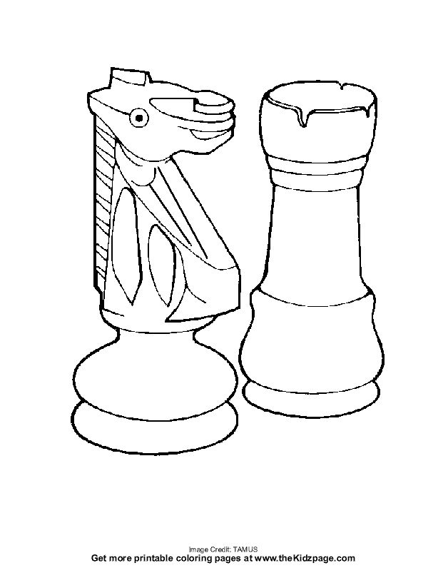 chess pieces - free coloring pages for kids - printable colouring sheets - print large
