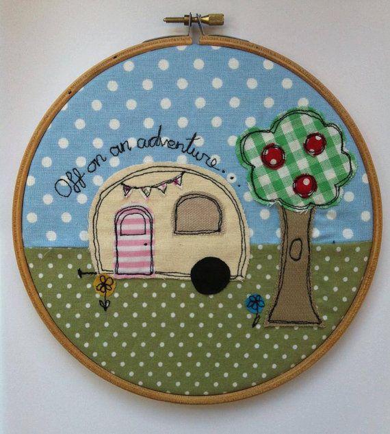 Off On An Adventure... Caravan Free Motion Embroidery Hoop Wall Art