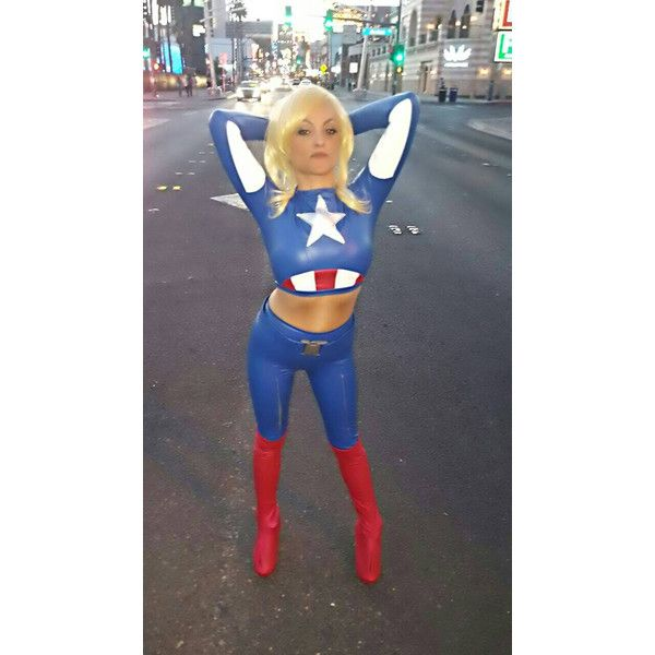 Sexy Marvels Captain America cosplay Halloween Costume ($273) ❤ liked on Polyvore featuring costumes, role play costumes, captain america cosplay costume, sexy costumes, cosplay halloween costumes and cosplay costumes