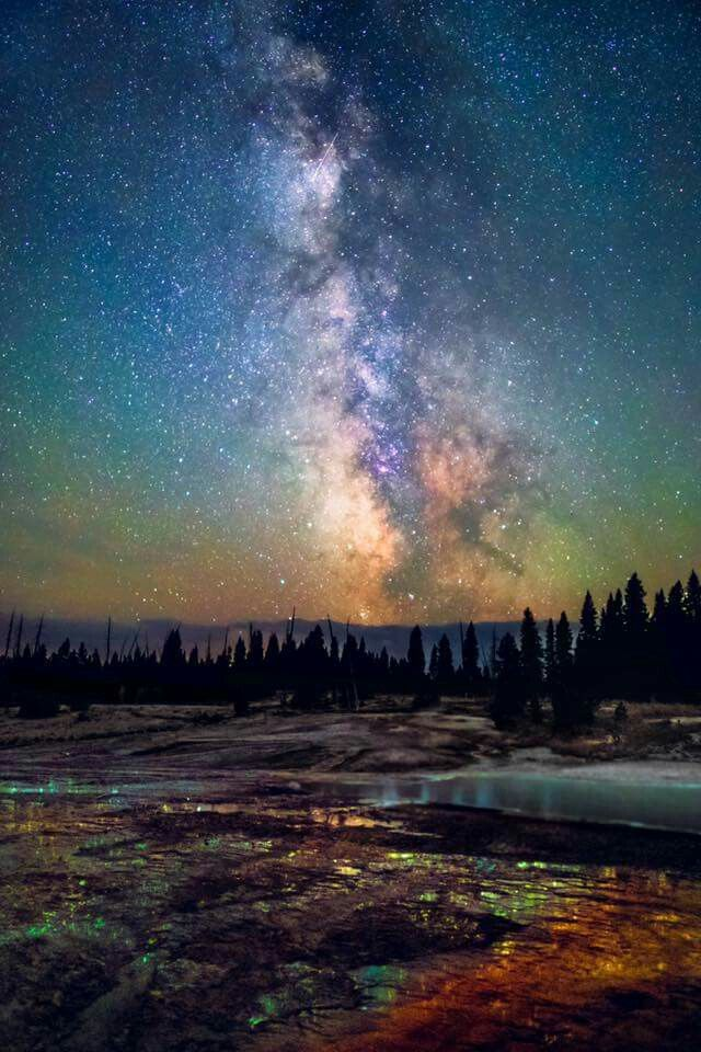 Milky way over Yellowstone.