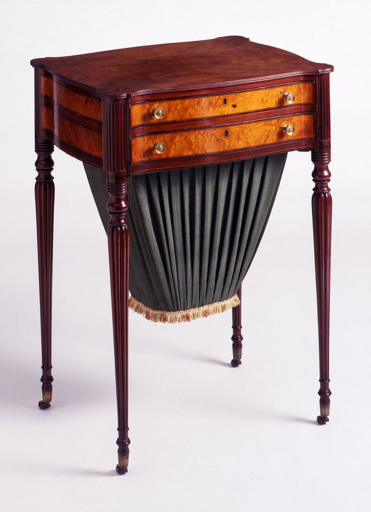 c1810 Sheraton work table, J&Th Seymour, Bosston, MA, mah,veneers, ·  Regency FurnitureAntique FurnitureBirdseye ... - 1532 Best Antique Tiger Maple Images On Pinterest 19th Century