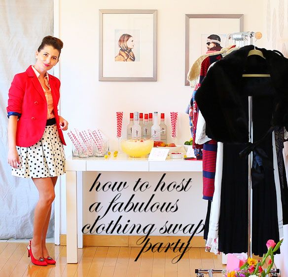 how to host a clothing swap; hostess kelly lee of kelly golightly; top fashion blogger kelly lee; lifestyle expert; entertaining expert; skinnygirl cocktails recipe