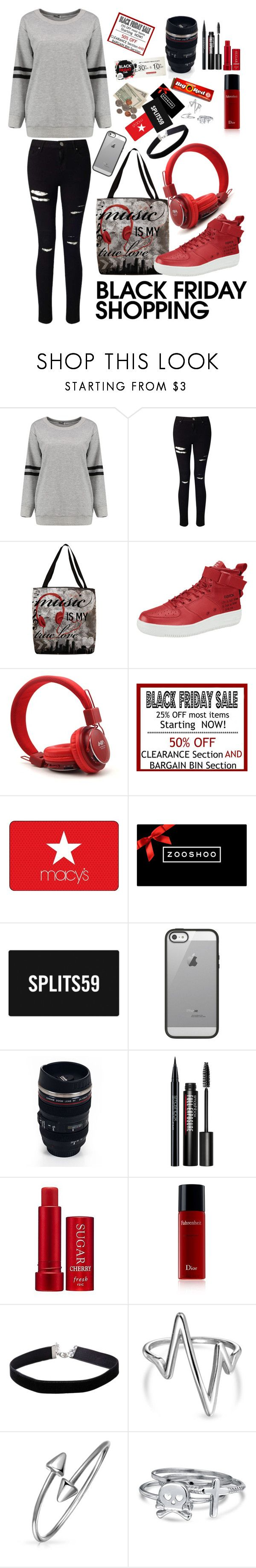 """""""Its black Friday..."""" by lexisamskywalker ❤ liked on Polyvore featuring Miss Selfridge, Thumbprintz, Belkin, Whetstone Cutlery, Wrigley's, Smashbox, Fresh, Christian Dior and Bling Jewelry"""