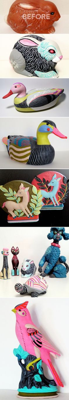 DIY~Thrifty art party idea. Repurpose a plain or plastic figurine by painting it in bright colors and funky patterns. Now you have a contemporary piece of art.