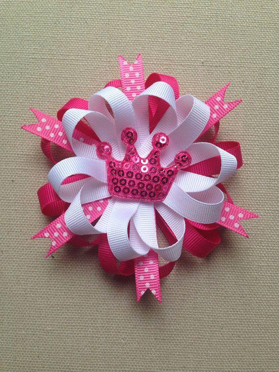 Rosa arco del pelo, arco de pelo princesa, lazo rosa, regalo para niñas, venda del bebé princesa rosa, arco de pelo rosado y blanco, arco de flores loopy
