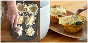 Reszelt krumplit tesz a muffinsütőbe. Ezt a receptet bármikor elkészíthetjük!