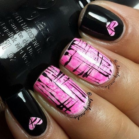 Black and Pink Heart Nails.