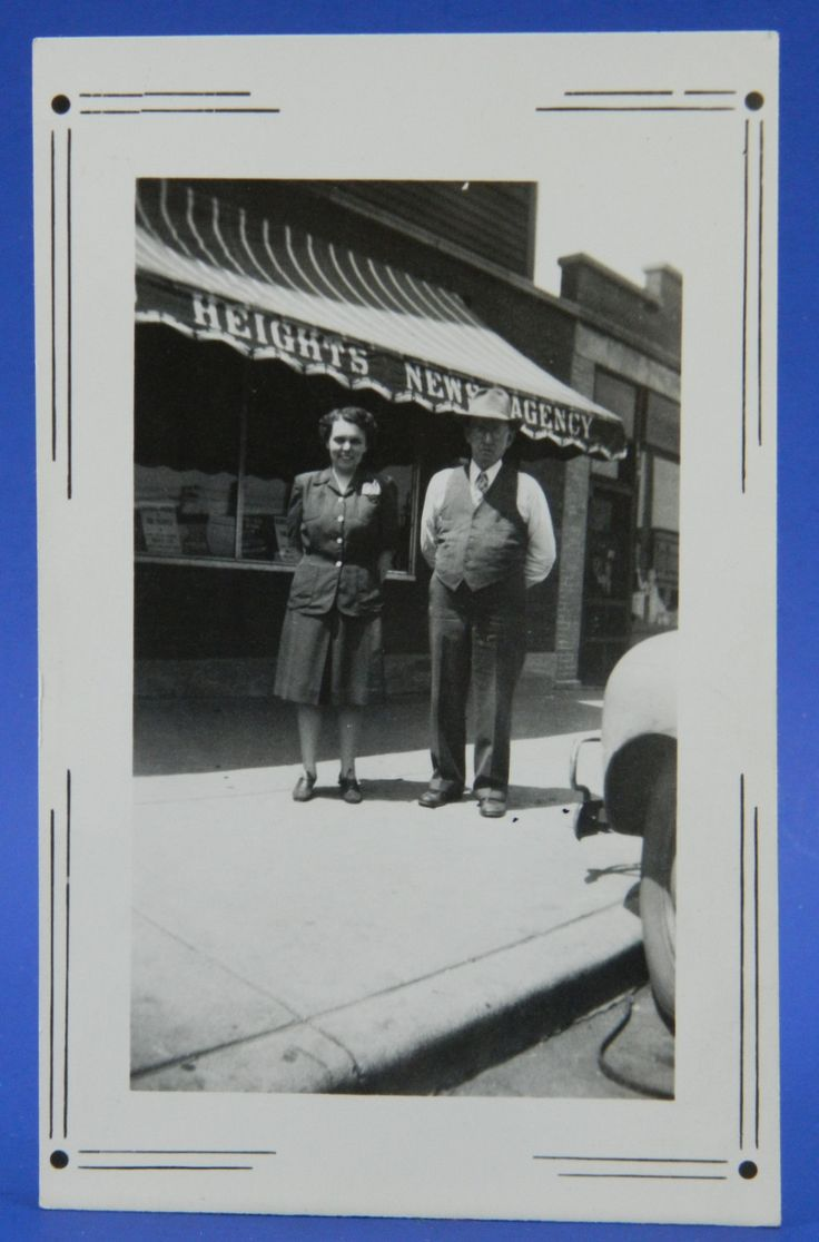 Chicago Heights News Agency Building Awning 1940's-1950's Couple Photo Snapshot 15956 by QueeniesCollectibles on Etsy