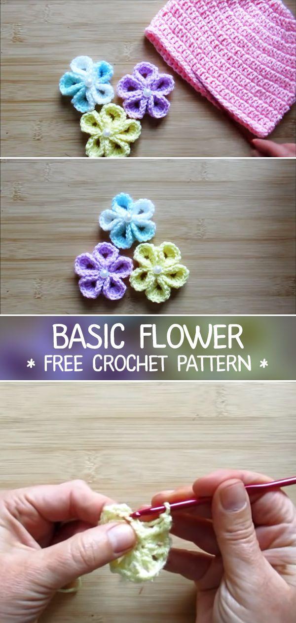 Häkelblume – Kostenlose Häkelanleitung – CROCHET-HUB  #crochet #hakelanleitung…