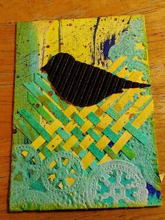 Blackbird Nesting ATC using Twinkling H2O Watercolors, paper weaving, corrugated paper, doily