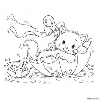 Printabel coloring pages kitty cat and frog in umbrella - Printable Coloring Pages For Kids