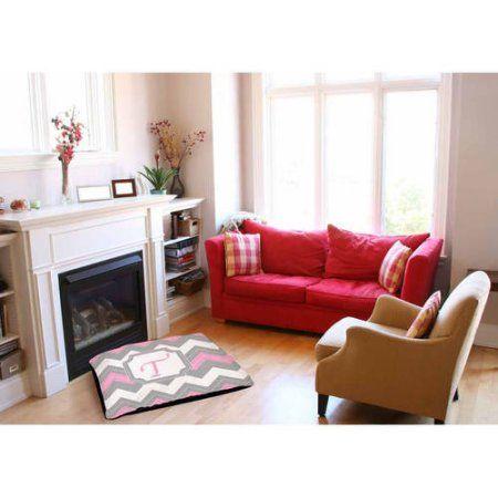 Thumbprintz Chevron Monogram Pink Indoor/Outdoor Pet Bed